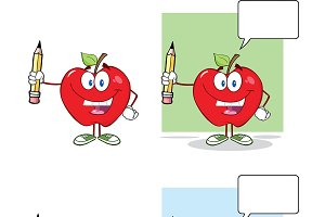 Apples Holding Up A Pencil