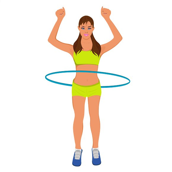young sporty woman with hoop