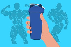 hand holding protein shaker