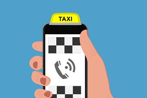 Taxi sign and smartphone