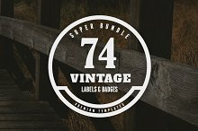 Bundle - 74 Vintage Labels & Badges