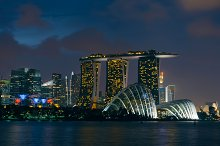 Singapore panoramic cityscape view at sunset time