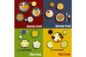 Traditional thai and korean dishes
