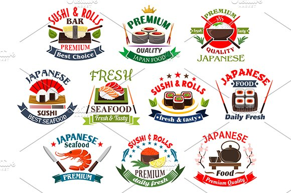 Japanese seafood icons and emblems