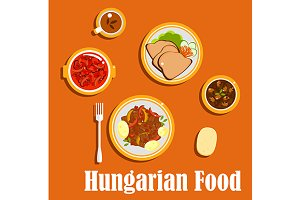 Hungarian lunch dishes and desserts