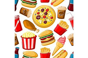 Fast food lunch seamless pattern