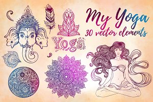 MY YOGA: 30 vector elements set