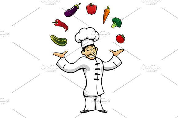 Asian chef juggling by vegetables