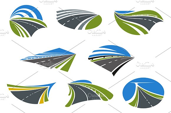 Roads and speed highways icons
