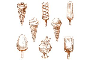 Ice cream cones sketches