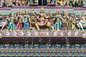 Colorful Indian Church roof.  Oriental church roof full of  hindu gods.