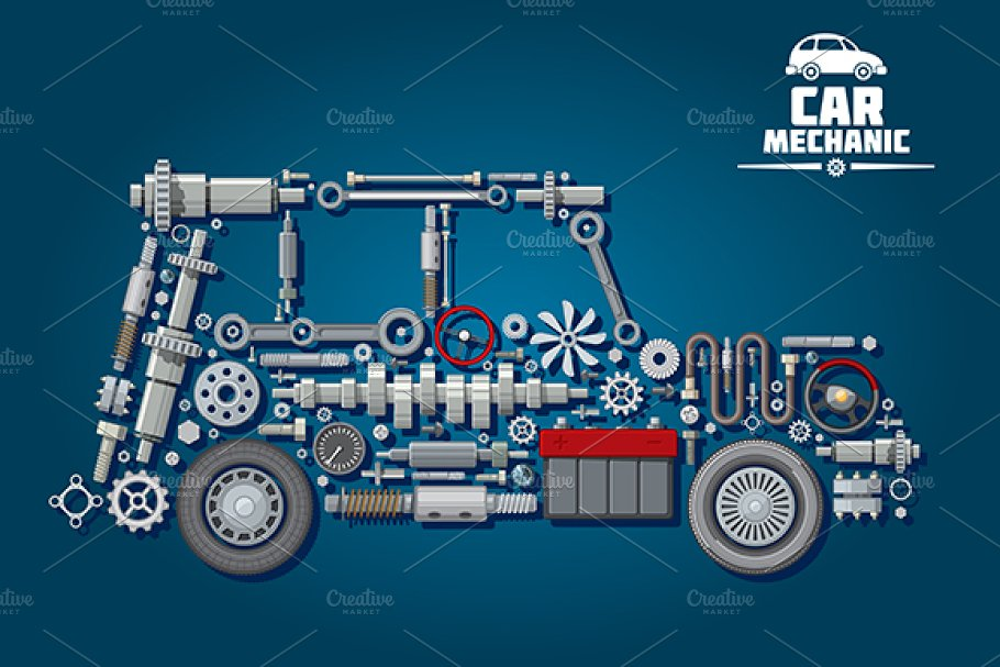 Car mechanic scheme in Graphics - product preview 8
