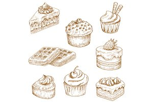 Cupcakes, cakes and waffle sketches