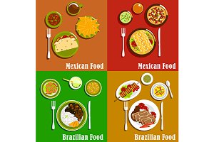 Mexican and brazilian cuisine dishes