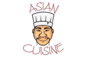 Cartoon asian cuisine chef character