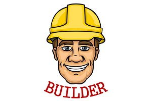 Smiling builder man in hard hat
