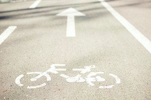 Bicycle sign on a road