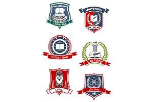University, academy, college icons