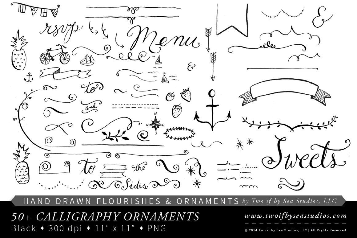 Hand Drawn Calligraphy Ornaments Illustrations Creative Market