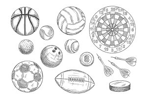 Sport balls sketches