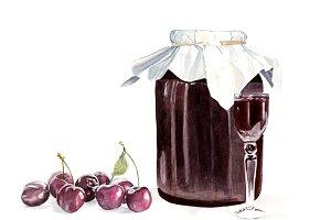 Watercolour Homemade cherry liqueur