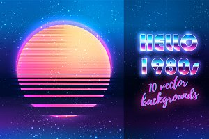 HELLO 1980s! 10 vector backgrounds