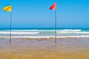 Beach with flags