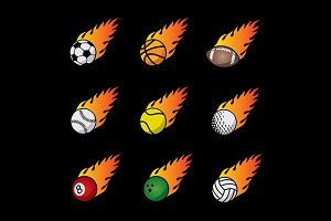 Fire Sport Balls Vector Template Set