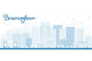 Outline Birmingham Skyline