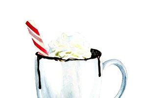 watercolour hot chocolate illustrati