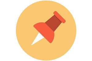 Push pin icon flat