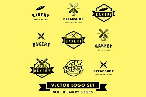 Bakery Restaurant Vector Logo Set