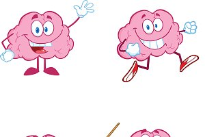 Brain Cartoon Mascot Collection - 1