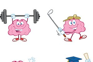 Brain Cartoon Mascot Collection - 2