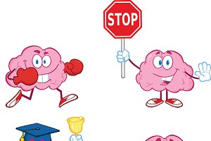Brain Cartoon Mascot Collection - 3