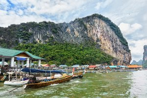 Rock near Floating Muslim Village. Koh Panyee Island at Phang Nga Bay near Krabi and Phuket. Thailand.