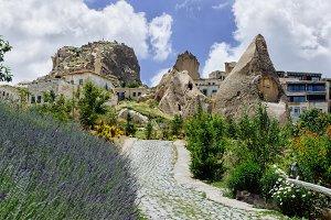 Sunny Cappadocia Goreme. Rural view of Cappadocia stone houses.