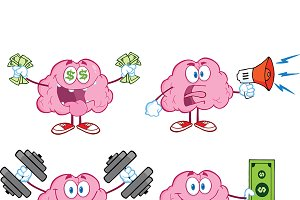 Brain Cartoon Mascot Collection - 4