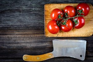 Tomatoes and knife