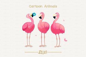 ♥ vector African pink flamingos