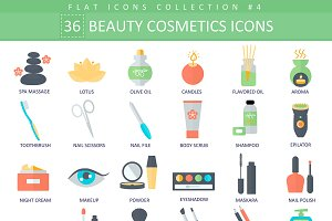 36 Beauty & cosmetics flat icons set