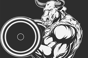 Ferocious bull with a barbell