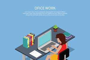 Isometric Woman Office Work