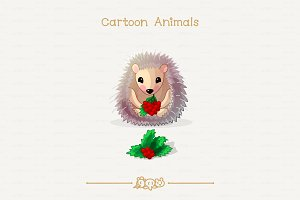 ♥ vector Hedgehog and holly