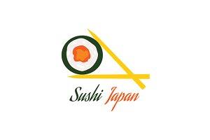 Sushi Japan Logo Flat Style Design