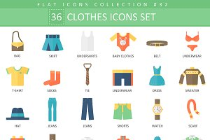 36 Clothes flat icons set.