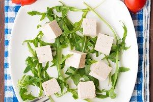 Vegan salad with tofu