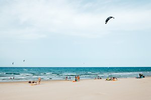 Kitesurfing on the beach