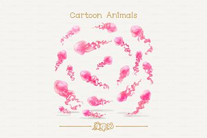 ♥ vector Pink jellyfishes