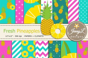 Pineapples Digital Paper and Clipart